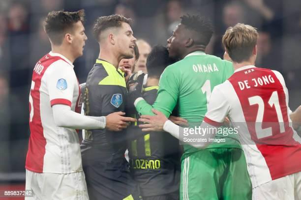 Maximilian Wober of Ajax Marco van Ginkel of PSV Hirving Lozano of PSV Andre Onana of Ajax Frenkie de Jong of Ajax during the Dutch Eredivisie match...