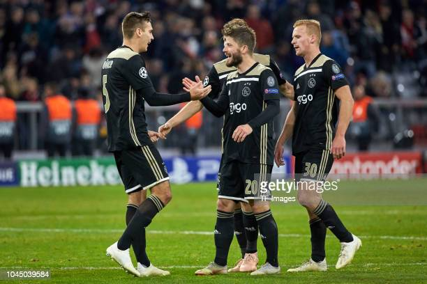 Maximilian Woeber of Ajax Amsterdam Lasse Schoene of Ajax Amsterdam and Dani De Wit of Ajax Amsterdam during the Group A match of the UEFA Champions...