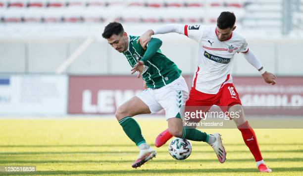 Maximilian Wolfram of Zwickau challenges Nico Rieble of Luebeck during the 3. Liga match between FSV Zwickau and VfB Luebeck at GGZ-Arena on January...