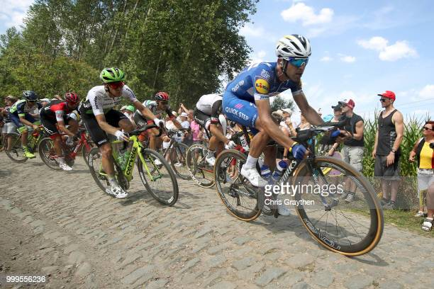 Maximiliano Ariel Richeze of Argentinia and Team QuickStep Floors / ont Thibault a Ennevelin Cobbles Sector 1 / Pave / during the 105th Tour de...