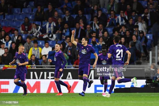 Maximiliano Gomez Gonzalez celebrates scoring during the La Liga match between RCD Espanyol and RC Celta de Vigo at RCDE Stadium on April 24 2019 in...