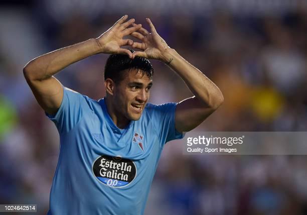 Maximiliano Gomez of Celta de Vigo celebrates after scoring a goal during the La Liga match between Levante UD and RC Celta de Vigo at Ciutat de...