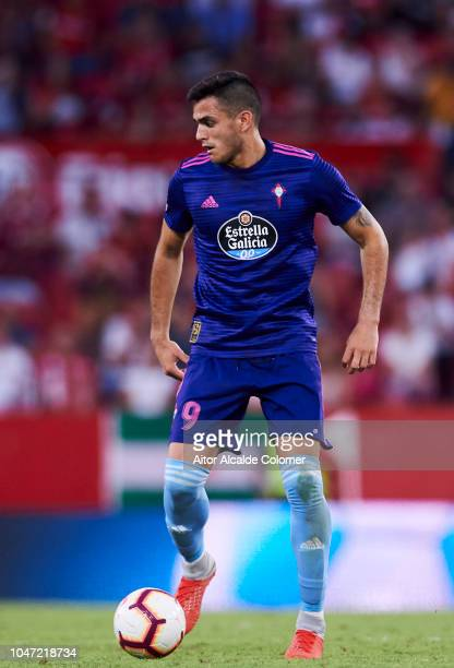 Maximiliano Gomez of RC Celta de Vigo in action during the La Liga match between Sevilla FC and RC Celta de Vigo at Estadio Ramon Sanchez Pizjuan on...