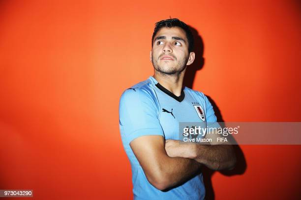 Maximiliano Gomez of Uruguay poses during the official FIFA World Cup 2018 portrait session at the Borsky Sports Centre on June 12, 2018 in Nizhny...