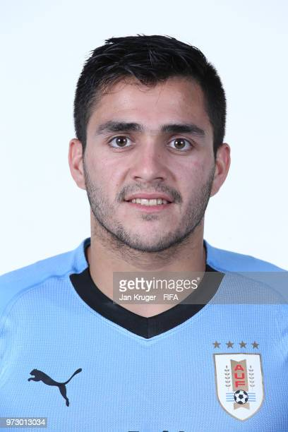 Maximiliano Gomez of Uruguay poses for a portrait during the official FIFA World Cup 2018 portrait session at Borsky Sport Centre on June 12, 2018 in...