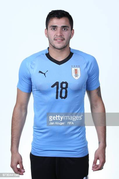 Maximiliano Gomez of Uruguay poses for a portrait during the official FIFA World Cup 2018 portrait session at Borsky Sport Centre on June 12 2018 in...
