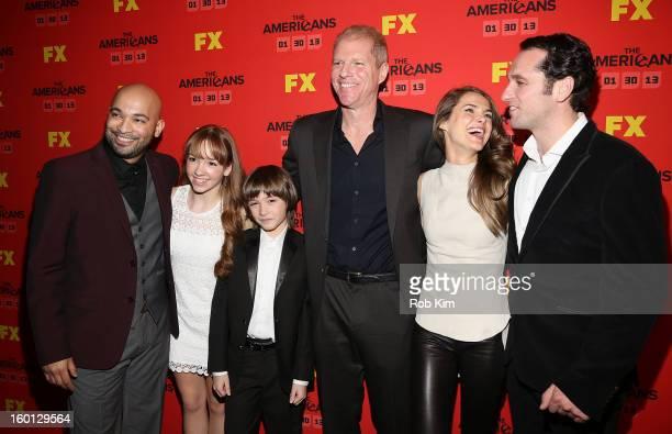 Maximiliano Hernandez Holly Taylor Keidrich Sellati Noah Emmerich Keri Russell and Matthew Rhys attend FX's 'The Americans' season one premiere at...