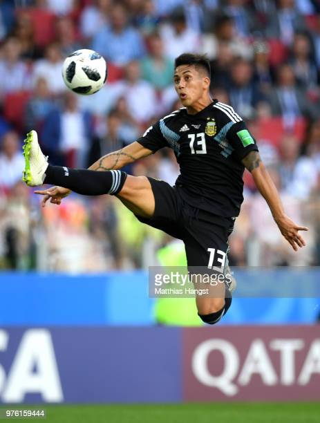 Maximiliano Meza of Argentina controls the ball in the air during the 2018 FIFA World Cup Russia group D match between Argentina and Iceland at...