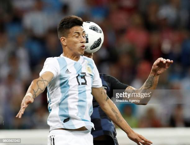 Maximiliano Meza of Argentina in action during the 2018 FIFA World Cup Russia Group D match between Argentina and Croatia at Nizhny Novgorod Stadium...