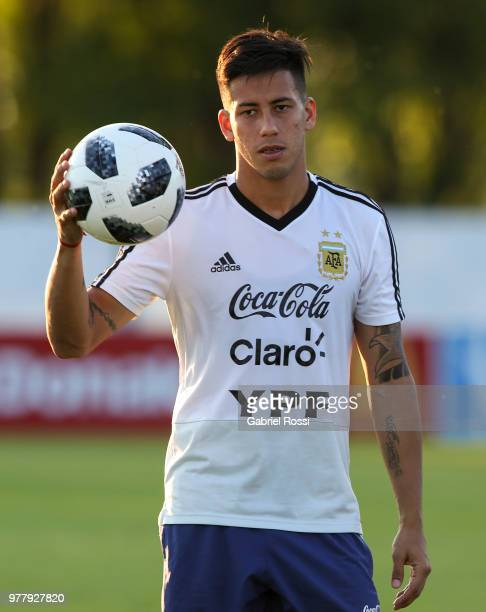 Maximiliano Meza of Argentina looks on during a training session at Stadium of Syroyezhkin sports school on June 18 2018 in Bronnitsy Russia