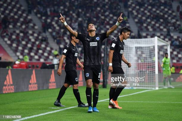 Maximiliano Meza of CF Monterrey celebrates after scoring his team's second goal during the FIFA Club World Cup Qatar 2019 3rd place match between...