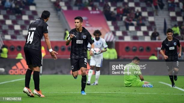 Maximiliano Meza of CF Monterrey celebrates with teammate Angel Zaldivar of CF Monterrey after scoring their team's second goal during the FIFA Club...