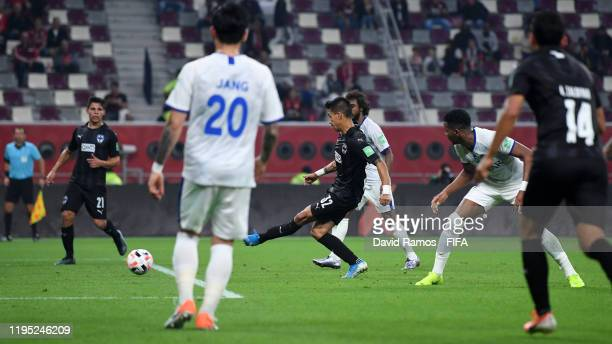 Maximiliano Meza of CF Monterrey scores his team's second goal during the FIFA Club World Cup Qatar 2019 3rd place match between Monterrey and Al...
