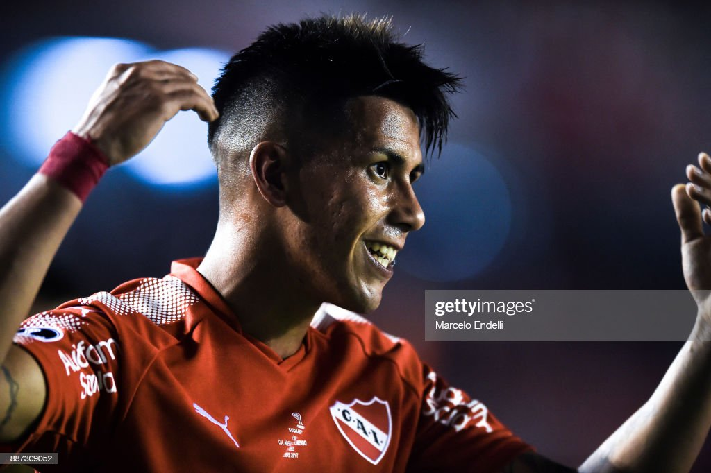 Maximiliano Meza of Independiente celebrates after scoring the second goal of his team during the first leg of the Copa Sudamericana 2017 final between Independiente and Flamengo at Estadio Libertadores de America on December 6, 2017 in Avellaneda, Argentina.