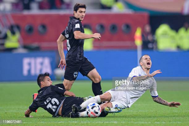 Maximiliano Meza of Monterrey battles for the ball with Sebastian Giovinco of Al Hilal during the FIFA Club World Cup 3rd place match between...