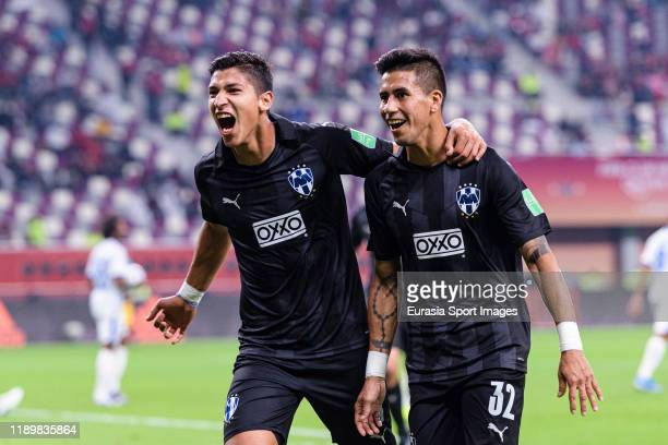 Maximiliano Meza of Monterrey celebrates after scoring the second goal of his team with teammate Angel Zaldivar during the FIFA Club World Cup 3rd...