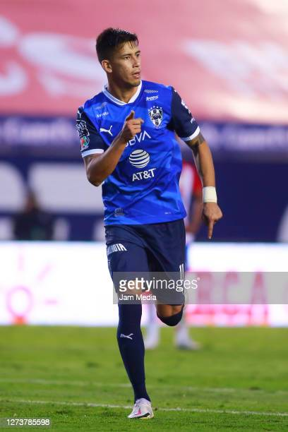 Maximiliano Meza of Monterrey celebrates after scoring the second goal of his team during the 11th round match between Atletico San Luis and...