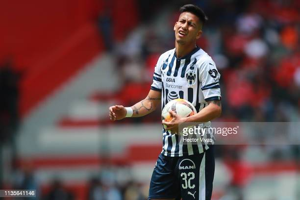 Maximiliano Meza of Monterrey reacts during the 13th round match between Toluca and Monterrey as part of the Torneo Clausura 2019 Liga MX at Nemesio...