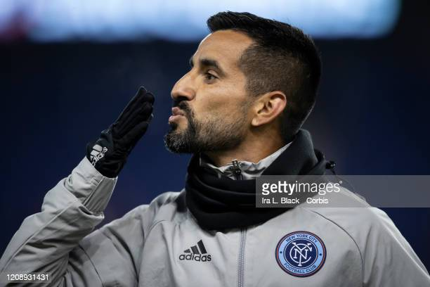 Maximiliano Moralez of New York City blows a kiss to fans after warm ups during the Scotiabank CONCACAF Champions League 2nd Leg Match between New...