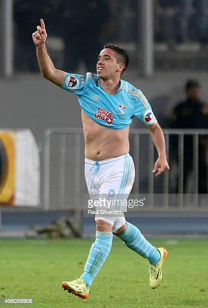 Maximiliano Nuñez of Sporting Cristal celebrates a scored goal against Universitario during a match between Sporting Cristal and Universitario as...