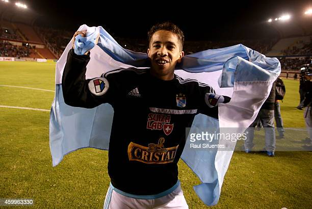 Maximiliano Nuñez of Sporting Cristal celebrates after winning a final match between Alianza Lima and Sporting Cristal as part of Torneo Clausura...