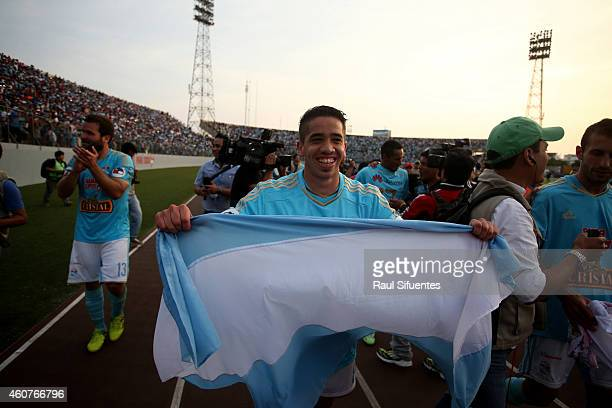 Maximiliano Nunez of Sporting Cristal celebrates after winning a final match between Sporting Cristal and Juan Aurich as part of Torneo...
