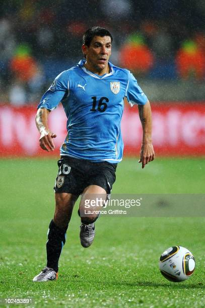 Maximiliano Pereira of Uruguay in action during the 2010 FIFA World Cup South Africa Round of Sixteen match between Uruguay and South Korea at Nelson...