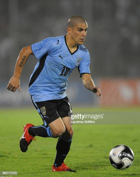 Maximiliano Pereira of Uruguay in action during the 2010 FIFA World Cup Play Off Second Leg Match between Uruguay and Costa Rica at The Estadio...