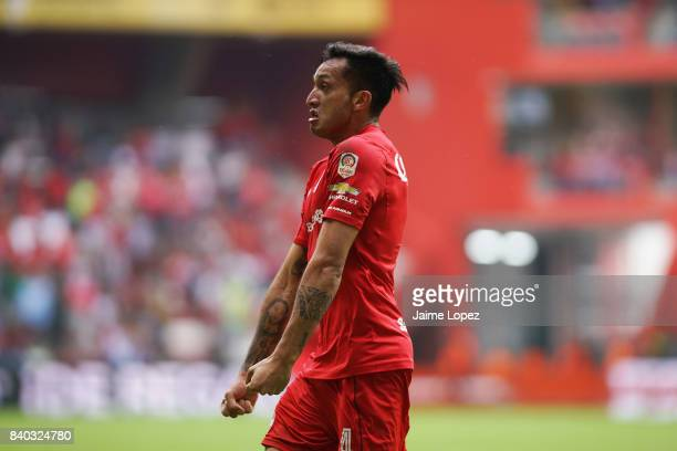 Maximiliano Perg of Toluca celebrates after scoring the first goal of his team during the seventh round match between Toluca and Puebla as part of...