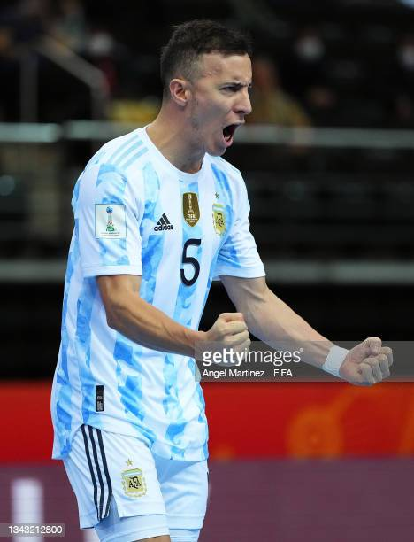 Maximiliano Rescia of Argentina celebrates during the FIFA Futsal World Cup 2021 Quarter Final match between Football Union of Russia and Argentina...