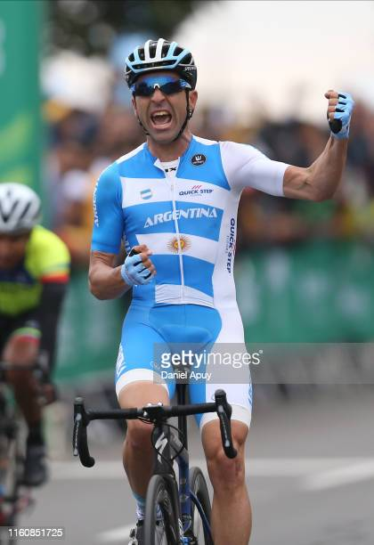Maximiliano Richeze of Argentina celebrate after wining the gold medal in Road Race Men Finals at Costa Verde San Miguel on Day 15 of Lima 2019 Pan...