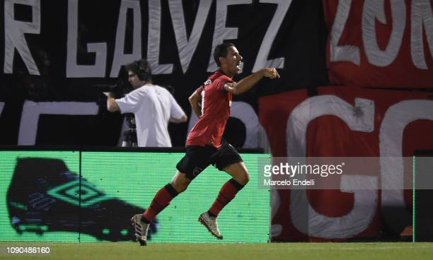 Maximiliano Rodriguez of Newell´s celebrates after scoring the first goal of his team during a match between Newell s Old Boys and Boca Juniors as...