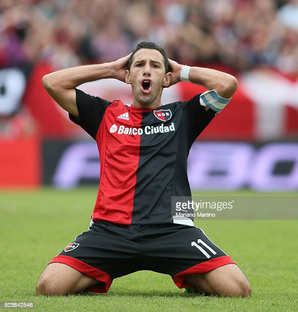 Maximiliano Rodriguez reacts after missing a chance to score during a match between Newell's Old Boys and Rosario Central as part of round 12 of...