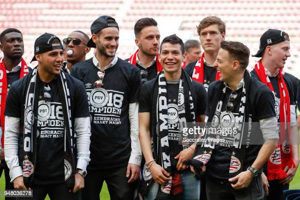 Maximiliano Romero of PSV Gaston Pereiro of PSV Luuk Koopmans of PSV Hirving Lozano of PSV Sam Lammers of PSV Santiago Arias of PSV Daniel Schwaab of...
