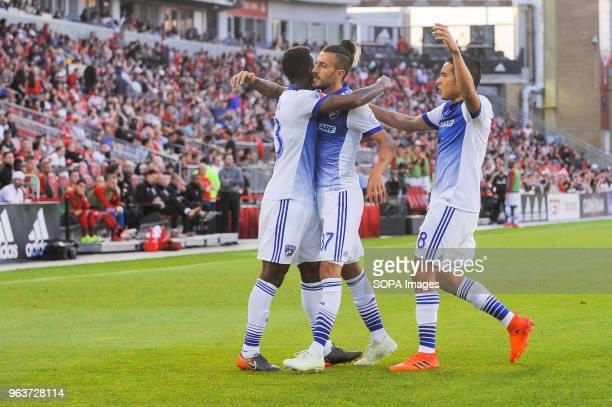 BMO FIELD TORONTO ONTARIO CANADA Maximiliano Urruti celebrate scored goal during 2018 MLS Regular Season match between Toronto FC and FC Dallas at...