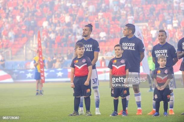 BMO FIELD TORONTO ONTARIO CANADA Maximiliano Urruti Victor Ulloa and Michael Barrios seen before 2018 MLS Regular Season match between Toronto FC and...