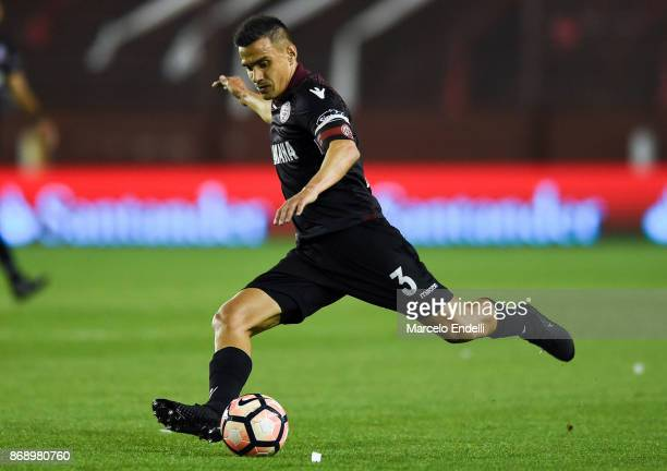 Maximiliano Velazquez of Lanus kicks the ball during a second leg match between Lanus and River Plate as part of the semifinals of Copa CONMEBOL...