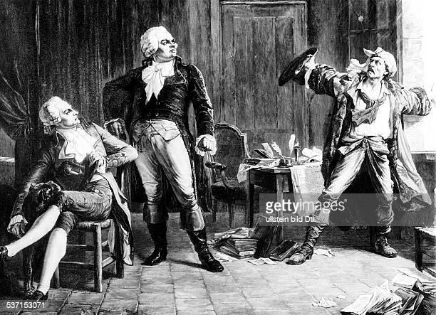 Maximilien de Robespierre Jurist Revolutionaer Frankreich Jakobiner die Revolutionaere Robespierre Danton und Marat nach einem Gemälde von Alfred...