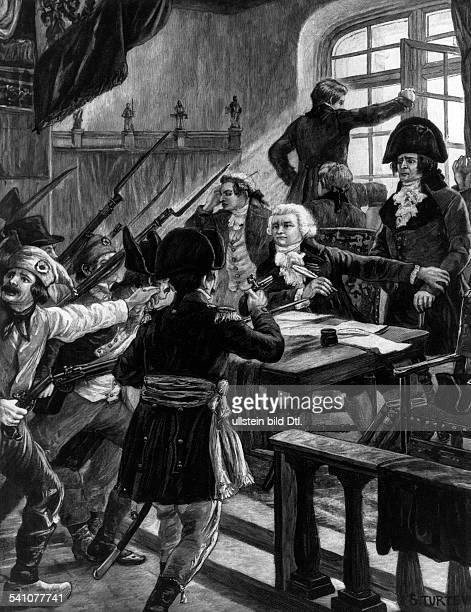 Maximilien de Robespierre*0605175828071794Jurist Revolutionaer Frankreich Jakobinerdie Verhaftung von Robespierre 27071794nach einem Gemälde von...