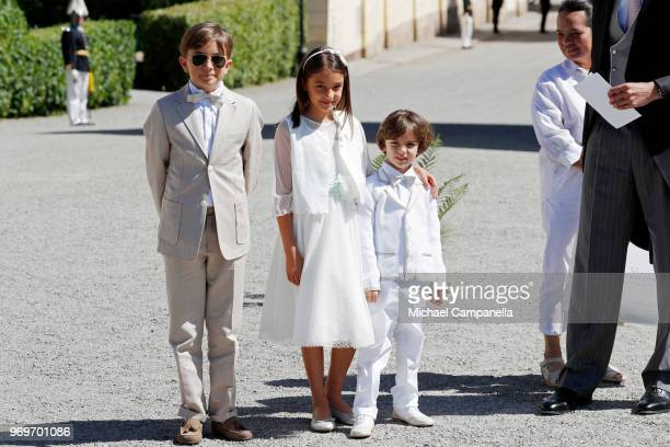 Maximilien Paul Anais Paul and Axel Paul attend the christening of Princess Adrienne of Sweden at Drottningholm Palace Chapel on June 8 2018 in...