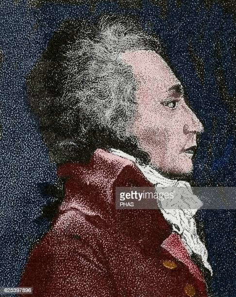 Maximilien Robespierre French lawyer and politician Figure of the French Revolution Member of Lacobin Club Engraving Portrait Colored