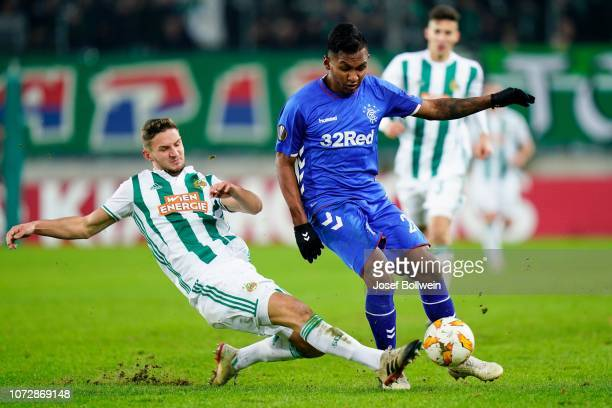 Maximillian Hofmann of Rapid and Alfredo Morelos of Rangers during the UEFA Europa League match between SK Rapid Wien v Rangers at Weststadion on...