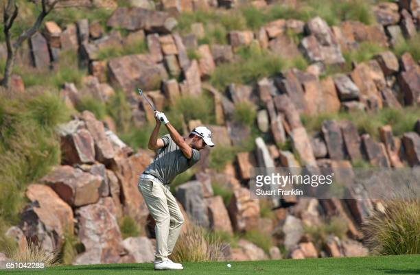 Maximillian Kieffer of Germany plays a shot during the second round of the Hero Indian Open at Dlf Golf and Country Club on March 10, 2017 in New...
