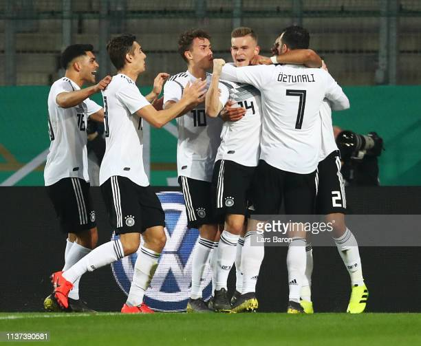 Maximillian Mittelstaedt of Germany is congratulated after scoring the first goal during the Germany U21 v France U21 International Friendly match on...