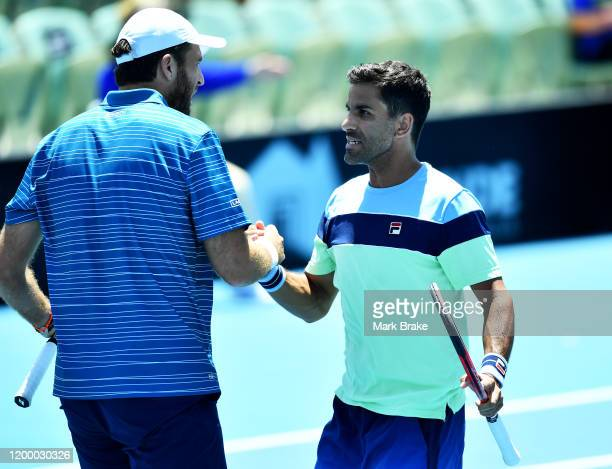 Maximo Gonzalez of Argentina celebrates winning his double match with partner Fabrice Martin of France against Rajeev Ram of the USA and Joe...
