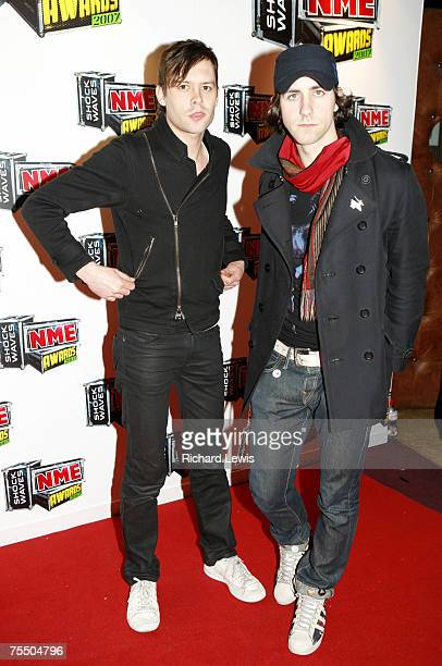 Maximo Park arrive at the Shockwaves NME Awards 2007 at the Hammersmith Palais in London United Kingdom