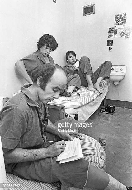 Maximum security prisoners in overcrowded cells at the New Mexico State Penitentiary near Santa Fe New Mexico in 1979 shortly before the 1980 Prison...