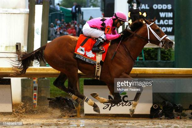 Maximum Security ridden by jockey Luis Saez crosses the finish line during 145th running of the Kentucky Derby at Churchill Downs on May 04 2019 in...