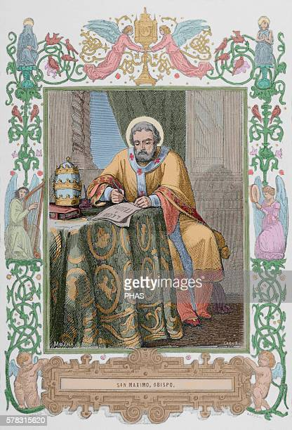 Maximus the Confessor Christian monk theologian and scholar Engraving by Capuz 1853 Colored