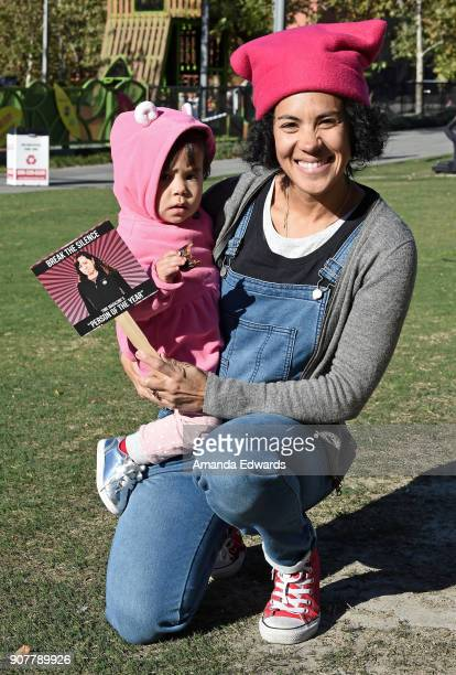 Maxine and Ryan Falconer at 2018 Women's March Los Angeles at Pershing Square on January 20 2018 in Los Angeles California